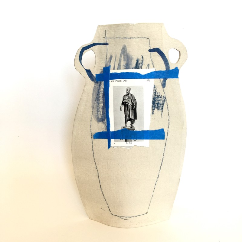 Artwork – Greek Figure vase, blue tape, 2020