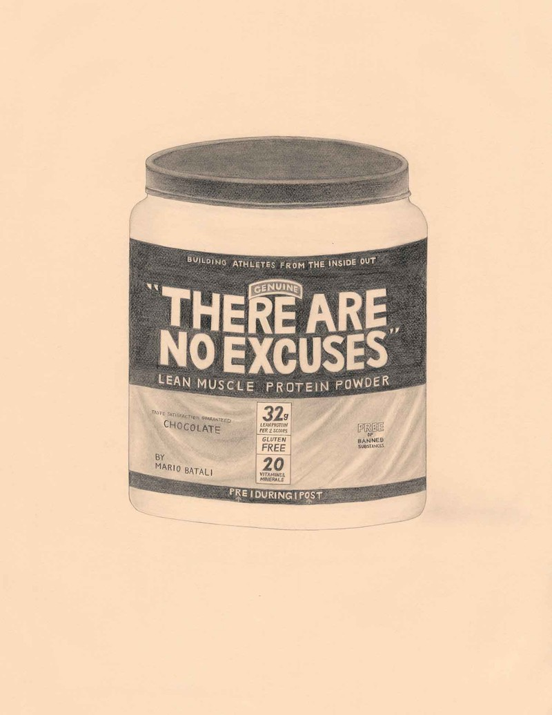 "Artwork – ""There Are No Excuses"" Protein Powder by Mario Batali, Chef (Muscle Milk), 2018"