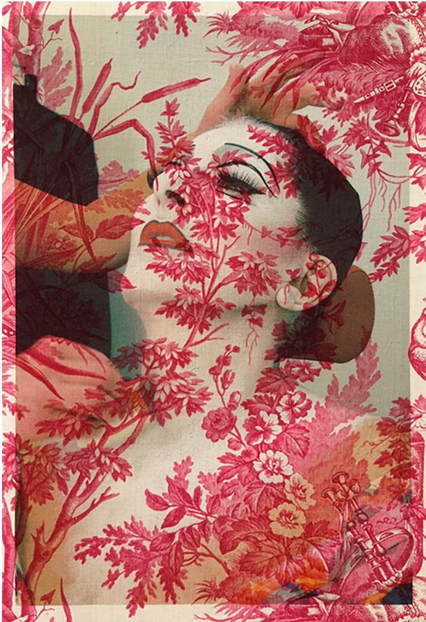 Artwork – Marina Abramovic make-up Basel (on red vintage peacock toile), 2014