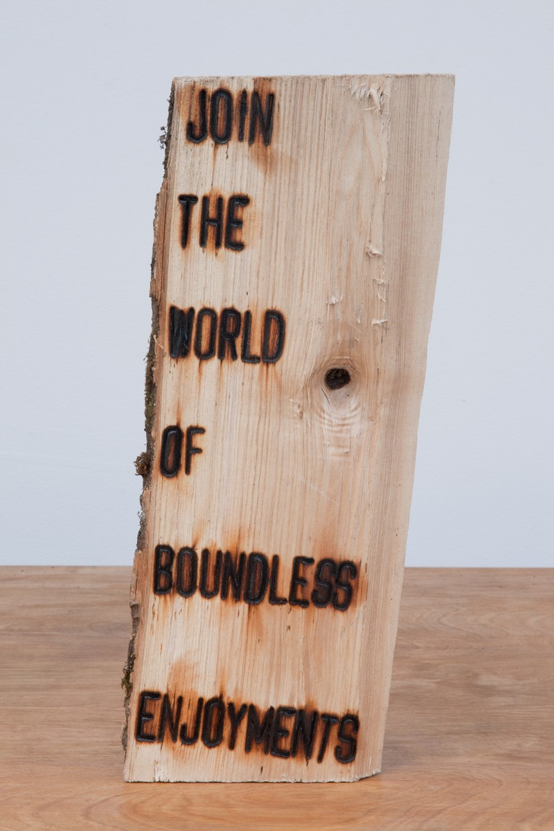 """Artwork – Branding Project #4:  I swear somewhere the truth lies within this wood - """"JOIN THE WORLD OF BOUNDLESS ENJOYMENTS"""", 2012"""