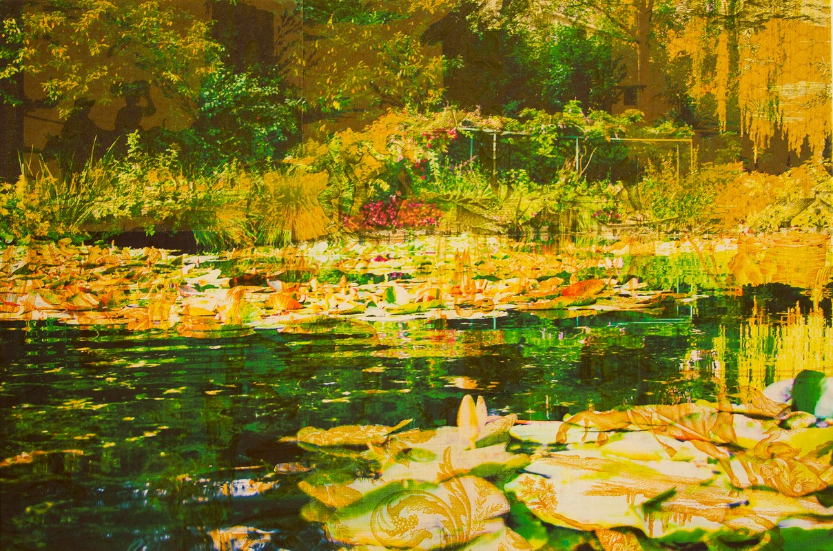 Artwork – Monet's Water Garden Giverny (on vintage yellow toile), 2018