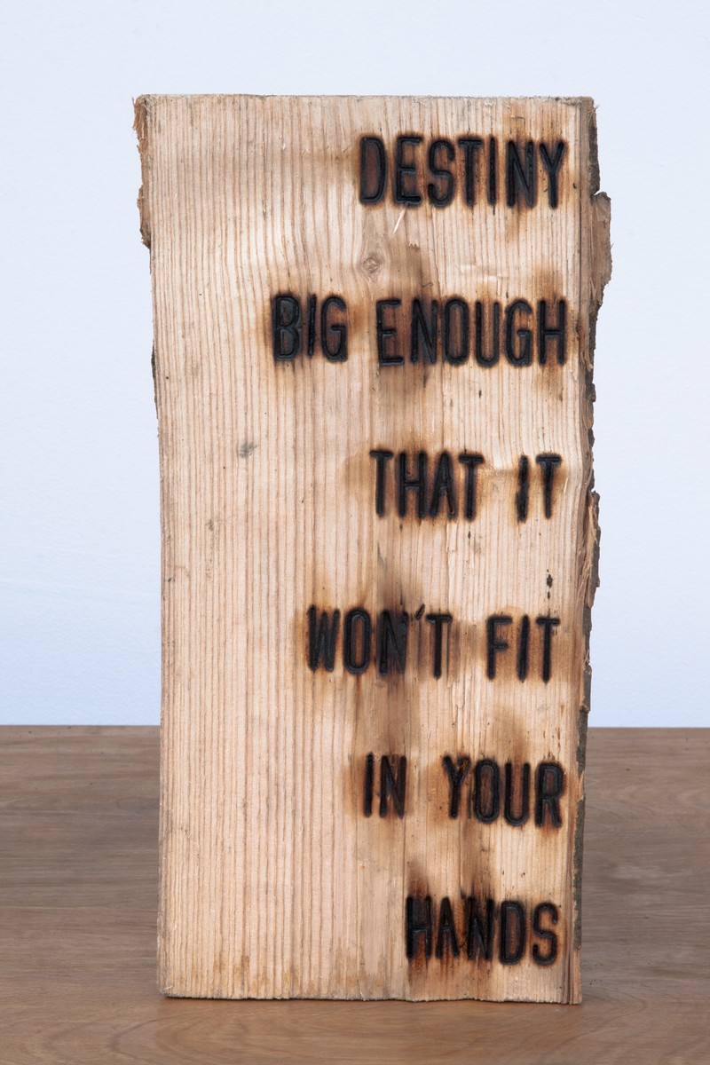 """Artwork – Branding Project #4:  I swear somewhere the truth lies within this wood - """"DESTINY BIG ENOUGH THAT IT WON'T FIT IN YOUR HANDS"""", 2012"""