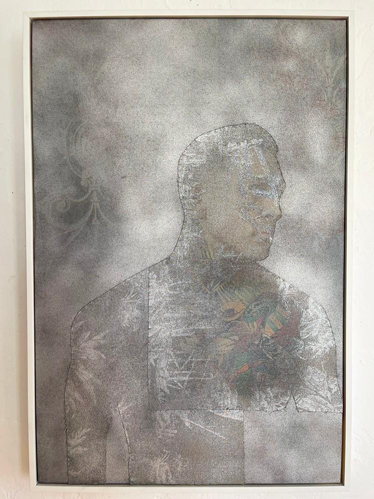 Artwork – Tyler True profile Los Angeles (on red pastoral toile), 2019