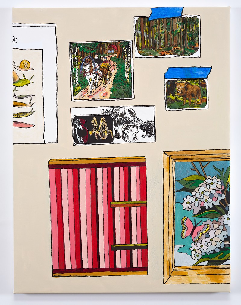 Artwork – Studio Wall with Paint by Number, Striped Painting, Snails, Woods, Rabbit and Boar, 2020