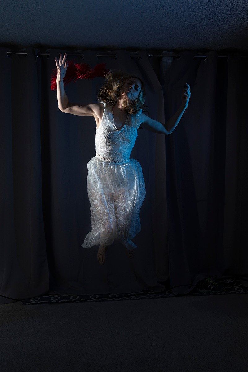 "Artwork – Allison Hunter, ""Jumping with Red Feathers,"" from the ""Sleepwalker"" series, 2020"