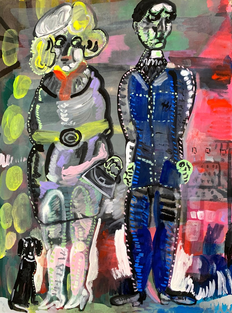 Artwork – Immature Man and Woman With Dog, 2020
