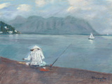 """Voggy"" Day for Fisherman with Chinese Hat, Kaneohe Bay and Kualoa, Oahu by Rosemary Lucente"