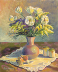 Floral with Lavender Vase by Blossoming Stillness by Ruth Moses