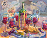 Far Niente with Wine, Cheese and Bread by Fine Wine Paintings by Ruth Moses