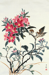 Azaleas and Sparrows by Demerie Faitler  方怡