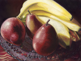 Red Anjou Pears With Bananas  by Carol Gunn