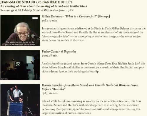 An evening of films about the making of Straub and Huillet films Gilles Deleuze, Pedro Costa, Harun Farocki | Events Calendar