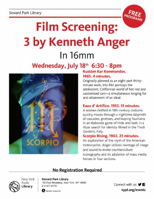 Three Films by Kenneth Anger in 16mm  | Events Calendar