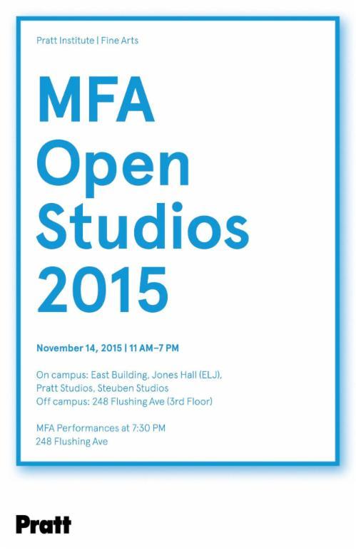 Pratt Institute MFA Open Studios  | Events Calendar