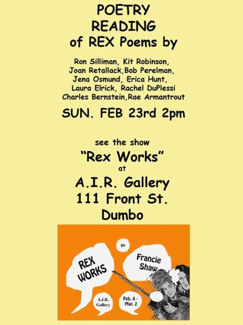 """POETRY READING of """"Rex Poems""""  
