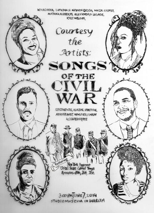 "Courtesy the Artists presents ""Songs of the Civil War"" Performance by Malik Gaines and Alexandro Segade with niv Acosta, LaTasha N. Nevada Diggs, Matana Roberts, Kali Wilder & the New York Regiment United States Colored Troop Reenactors (20th, 26th, 31st) 
