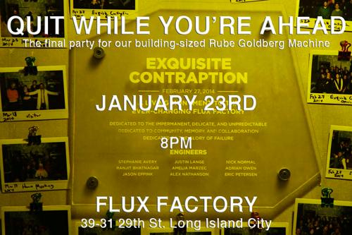 Exquisite Contraption: Quit While You're Ahead Party  | Events Calendar