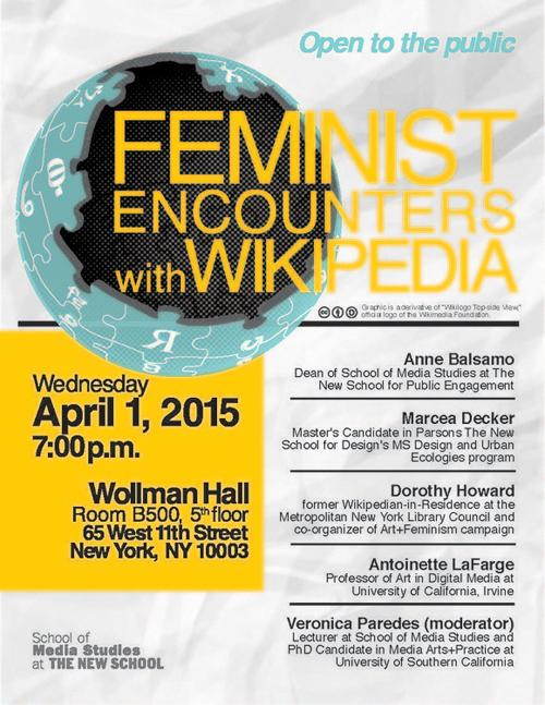 Feminist Encounters with Wikipedia Panel Discussion  | Events Calendar