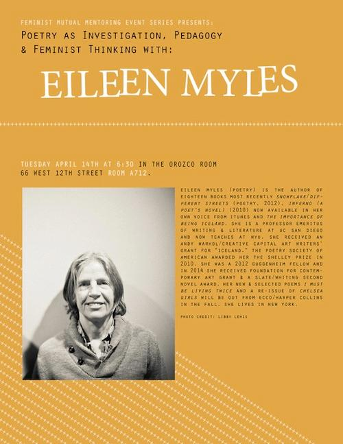 Eileen Myles Poetry As Investigation, Pedagogy & Feminist Thinking | Events Calendar