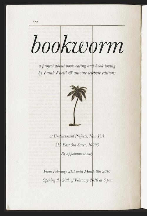 bookworm A project by Farah Khelil & antoine lefebvre editions | Events Calendar