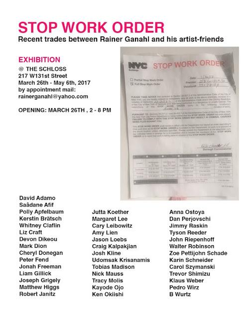 """STOP WORK ORDER"" Recent Trades between Rainer Ganahl and his artist-friends 