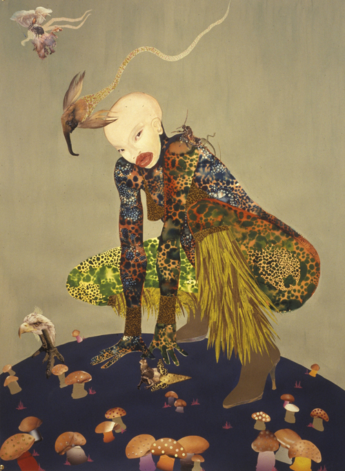 in Pictures for Wangechi Mutu at Brooklyn Museum. Image for Wangechi Mutu (Kenyan, b. 1972). Riding Death in My Sleep, 2002. Ink and collage on paper, 60 x 44 inches (152.4 x 111.76 cm). Collection of Peter Norton, New York. © Wangechi Mutu