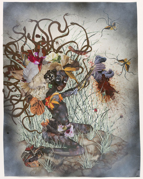 in Pictures for Wangechi Mutu at Brooklyn Museum. Image for Wangechi Mutu (Kenyan, b. 1972). The Bride Who Married a Camel's Head, 2009. Mixed-media collage on Mylar, 42 x 30 inches (106.7 x 76.2 cm). Deutsche Bank Collection, Germany, K20100083. Image courtesy of Susanne Vielmetter Los Angeles Projects. © Wangechi Mutu. Photo by Mathias Schormann