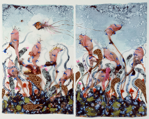 in Pictures for Wangechi Mutu at Brooklyn Museum. Image for Wangechi Mutu (Kenyan, b. 1972). Funkalicious fruit field, 2007. Ink, paint, mixed media, plastic pearls, and collage on Mylar; 92 x 106 inches (233.7 x 269.24 cm) overall. Collection of Glenn Scott Wright, London. Image courtesy of Victoria Miro Gallery, London. © Wangechi Mutu