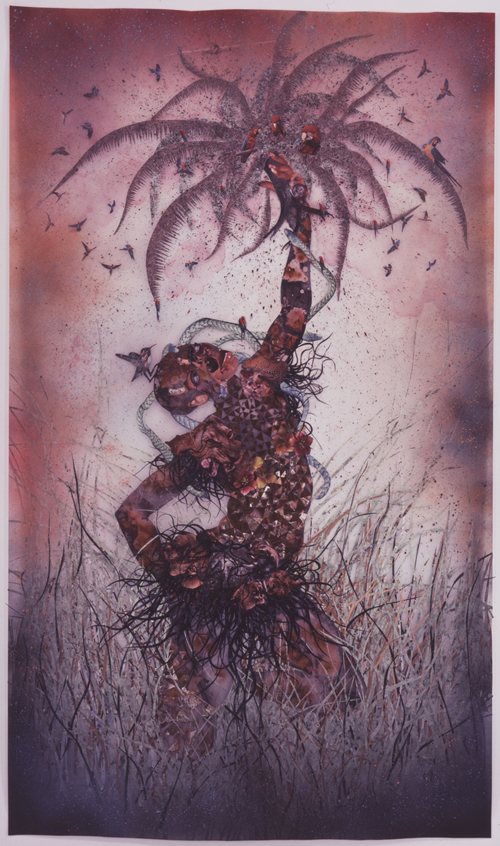 in Pictures for Wangechi Mutu at Brooklyn Museum. Image for Wangechi Mutu (Kenyan, b. 1972). Le Noble Savage, 2006. Ink and collage on Mylar, 91 3/4 x 54 in. (233 x 137.2 cm). Collection of Martin and Rebecca Eisenberg, Scarsdale, New York. Image courtesy of the artist © Wangechi Mutu.
