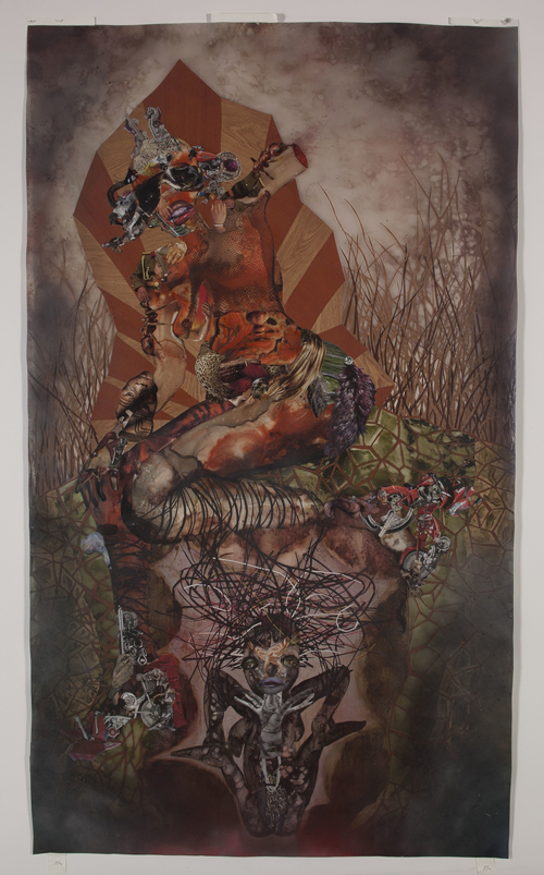 in Pictures for Wangechi Mutu at Brooklyn Museum. Image for Wangechi Mutu (Kenyan, b. 1972). Root of All Eves, 2010. Mixed media, ink, paint, and collage on Mylar; 97 x 54 inches (246.4 x 137.2 cm). Collection of George Hartman and Arlene Goldman, Toronto, Canada. © Wangechi Mutu