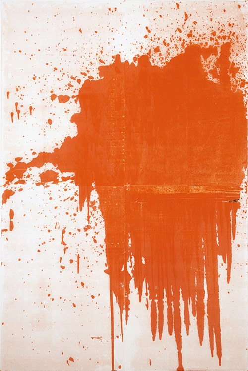 in Pictures for Christopher Wool at Solomon R. Guggenheim Museum. Image for Christopher Wool, Minor Mishap, 2001, Silkscreen ink on linen, 274.3 x 182.9 cm © Christopher Wool