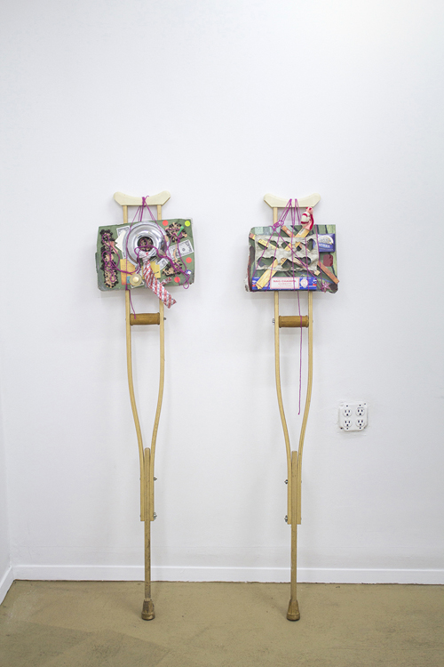 in Pictures for Michael Mahalchick and Jacques Louis Vidal at 247365. Image for Michael Mahalchick, Crutches, mixed media, dimensions variable