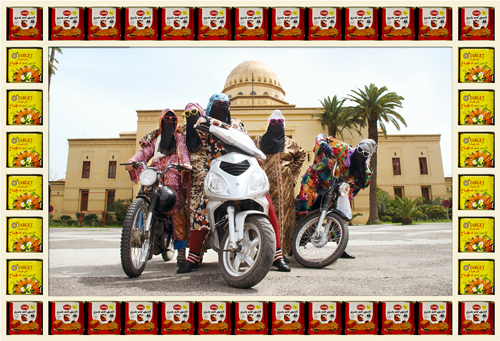 in Pictures for Hassan Hajjaj at Taymour Grahne Gallery. Image for Kesh Angels, 2010/1431, Edition of 7, Metallic Lambda Print on 3mm White Dibond, 39.8h x 54.17w in / 101h x 137.6w cm. Courtesy of Hassan Hajjaj and Taymour Grahne Gallery, New York.