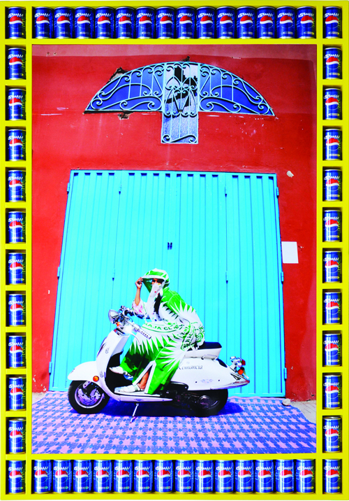 in Pictures for Hassan Hajjaj at Taymour Grahne Gallery. Image for Nisrin, 2010/1431, Edition of 7, Metallic Lambda on 3 mm white Dibond, 53.5 x 36.77 in / 135.89 x 93.4 cm. Courtesy of Hassan Hajjaj and Taymour Grahne Gallery, New York.
