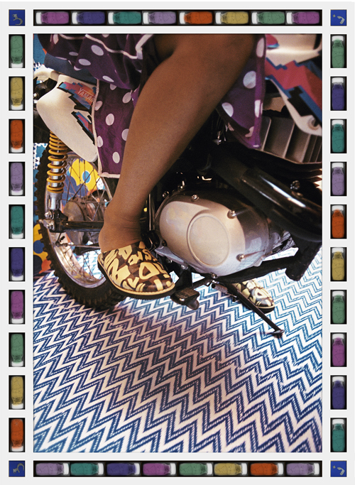 in Pictures for Hassan Hajjaj at Taymour Grahne Gallery. Image for Kick Start, 2006/1427,Edition of 10, Metallic Lambda Print On 3mm White Dibond, 33.11h x 23.62w in / 84.1h x 60w cm. Courtesy of Hassan Hajjaj and Taymour Grahne Gallery, New York.
