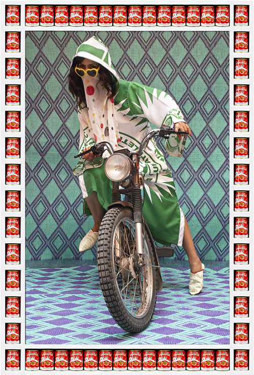 in Pictures for Hassan Hajjaj at Taymour Grahne Gallery. Image for M., 2010/1431, Edition of 7, Metallic Lambda Print On 3mm White Dibond, 52.36h x 36.85w in / 133h x 93.6w cm. Courtesy of Hassan Hajjaj and Taymour Grahne Gallery, New York.