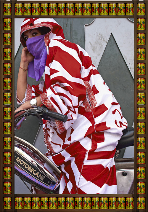 in Pictures for Hassan Hajjaj at Taymour Grahne Gallery. Image for Brown Eyes, 2010/1431, Edition of 7, Metallic Lambda Print On 3mm White Dibond, 52.36h x 36.93w in / 133h x 93.8w cm. Courtesy of Hassan Hajjaj and Taymour Grahne Gallery, New York.