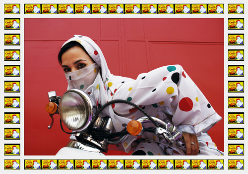 in Pictures for Hassan Hajjaj at Taymour Grahne Gallery. Image for Rider, 2010/1431, Edition of 10, Metallic Lambda Print on 3mm White Dibond, 24.49h x 35.63w in / 62.2h x 90.5w cm. Courtesy of Hassan Hajjaj and Taymour Grahne Gallery, New York.