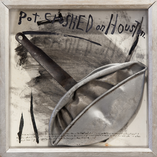 in Pictures for Candy Jernigan at Greene Naftali Gallery. Image for Candy Jernigan, Pot Crushed on Houston, c. 1985-86, Aluminium pot, text and frame, Frame: 13 1/2 x 13 1/2 x 2 1/2 inches (34.3 x 34.3 x 6.4 cm). Courtesy of Greene Naftali, New York.
