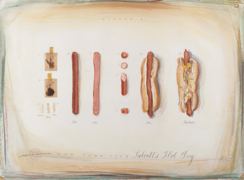 in Pictures for Candy Jernigan at Greene Naftali Gallery. Image for Candy Jernigan, THE NEW YORK COLLECTIONS, Sabrett's Hot Dog, September 16, 1985, Pastel, pencil, rubber stamps, and food smears on paper, Paper: 22 x 30 inches (55.9 x 76.2 cm), Frame: 26 x 34 x 1 inches (66 x 86.4 x 2.5 cm). Courtesy of Greene Naftali, New York.