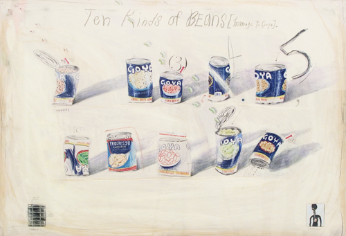 in Pictures for Candy Jernigan at Greene Naftali Gallery. Image for Candy Jernigan, THE NEW YORK COLLECTIONS, Ten Kinds of Beans (Homage to Goya), October 26, 1986, Pastel and pencil on paper, Paper: 30 x 43 inches (76.2 x 109.2 cm), Frame: 36 1/4 x 49 3/4 inches (92 x 126.4 cm). Courtesy of Greene Naftali, New York.