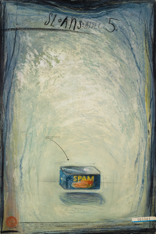in Pictures for Candy Jernigan at Greene Naftali Gallery. Image for Candy Jernigan, Sloans: Aisle 5, February 18, 1987, Oil on board, Board: 30 x 20 inches (76.2 x 50.8 cm), Frame: 32 7/8 x 23 x 1 1/2 inches (83.5 x 58.4 x 3.8 cm). Courtesy of Greene Naftali, New York.