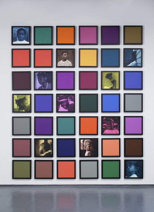 in Pictures for Carrie Mae Weems at Solomon R. Guggenheim Museum. Image for Carrie Mae Weems, Untitled (Colored People Grid), 2009–10, 11 inkjet prints and 31 colored clay papers, dimensions variable overall; individual components: 10 x 10 inches (25.4 x 25.4 cm) each. Collection of Rodney M. Miller © Carrie Mae Weems