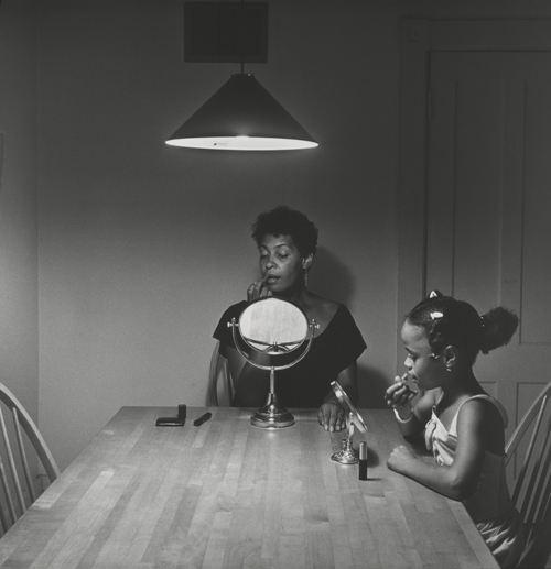 in Pictures for Carrie Mae Weems at Solomon R. Guggenheim Museum. Image for Carrie Mae Weems, Untitled (Woman and daughter with makeup) (from Kitchen Table Series), 1990, Gelatin silver print, 27 1/4 x 27 1/4 inches (69.2 x 69.2 cm). Collection of Eric and Liz Lefkofsky, Promised gift to The Art Institute of Chicago © Carrie Mae Weems. Photo: © The Art Institute of Chicago