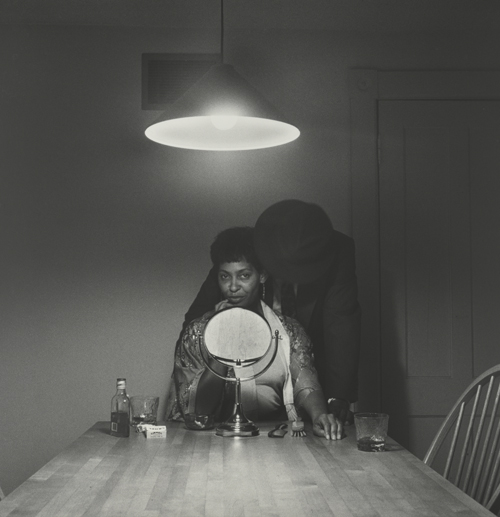in Pictures for Carrie Mae Weems at Solomon R. Guggenheim Museum. Image for Carrie Mae Weems, Untitled (Man and mirror) (from Kitchen Table Series), 1990, Gelatin silver print, 27 1/4 x 27 1/4 inches (69.2 x 69.2 cm). Collection of Eric and Liz Lefkofsky, Promised gift to The Art Institute of Chicago © Carrie Mae Weems. Photo: © The Art Institute of Chicago