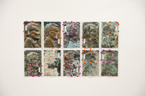 in Pictures for Moyra Davey at Murray Guy. Image for Moyra Davey, Outtakes, 2013, 10 c-prints, tape, postage, ink, 17 1/2 x 12 inches each, Unique. Courtesy of Murray Guy, New York.