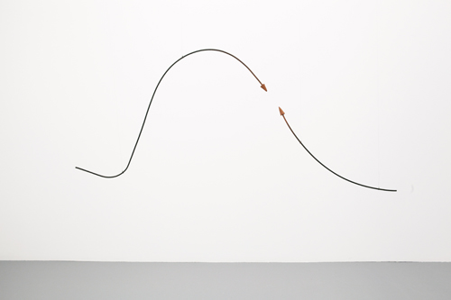 in Pictures for 'Other Primary Structures' at The Jewish Museum. Image for Edward Krasiński (Poland, born 1925, died 2004), Untitled, 1965, Metal rod and wood, two parts, 70 7/8 in. long (180 cm). Courtesy of Paulina Krasińska and Foksal Gallery Foundation © Estate of Edward Krasiński