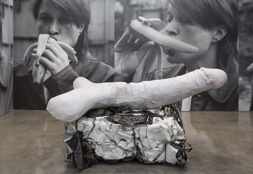 in Pictures for Sarah Lucas at Gladstone Gallery. Image for Sarah Lucas, Eros, 2013, Cast concrete and crushed car, 108 1/4 x 53 x 41 3/4 inches (275 x 135 x 106 cm), Photo: David Regen, Copyright Sarah Lucas, Courtesy Gladstone Gallery, New York and Brussels