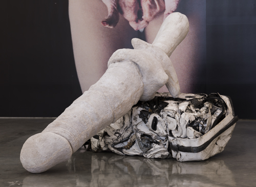 in Pictures for Sarah Lucas at Gladstone Gallery. Image for Sarah Lucas, Priapus, 2013, Cast concrete and crushed car, 132 x 35 x 132 inches (335 x 89 x 335 cm), Photo: David Regen, Copyright Sarah Lucas, Courtesy Gladstone Gallery, New York and Brussels