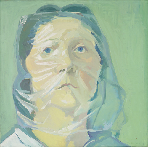 in Pictures for Maria Lassnig at MoMA PS1. Image for Maria Lassnig, Selbstporträt unter Plastik, 1972, Collection de Bruin-Heijn. Photo copyright Peter Cox. Courtesy MoMA PS1.